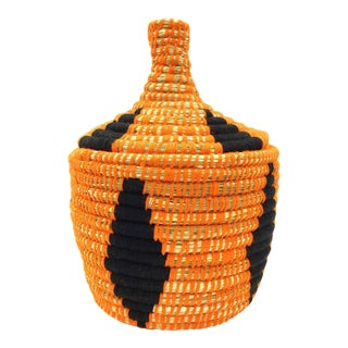Orange & Black Moroccan Wool Basket For Sale
