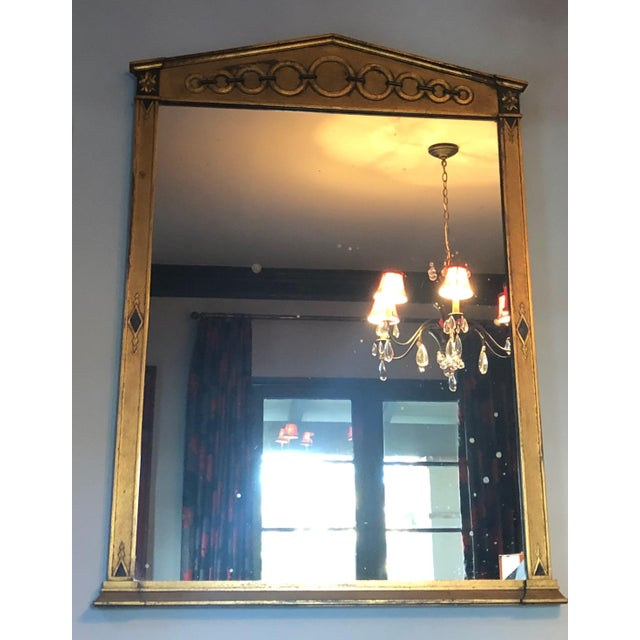 Hollywood Regency Mid Century Deco Hollywood Regency Gold and Black Wood Wall Mirror For Sale - Image 3 of 7