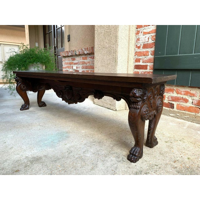1900s Antique Italian Carved Walnut Renaissance Revival Bench Ottoman For Sale - Image 13 of 13