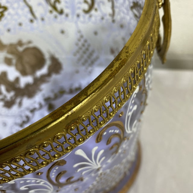 Brass Hand Painted Venetian Glass & Brass Ice Wine Bucket For Sale - Image 8 of 10
