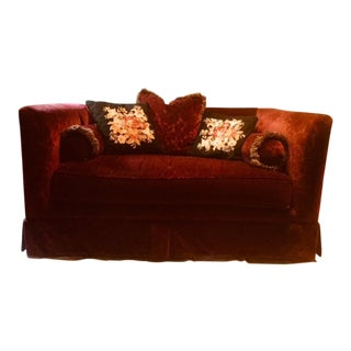 Bordeaux Cotton Velvet Damask Loveseat For Sale