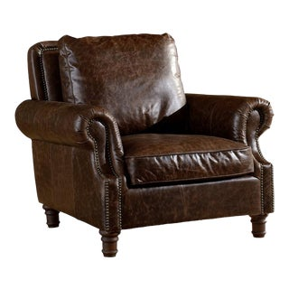 Crafters and Weavers Dark Brown Leather English Rolled Arm Chair For Sale
