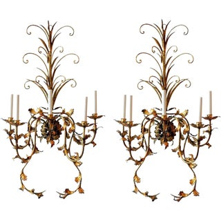Impressive Italian Gilt Tole 5 Arm Wall Sconces - A Pair