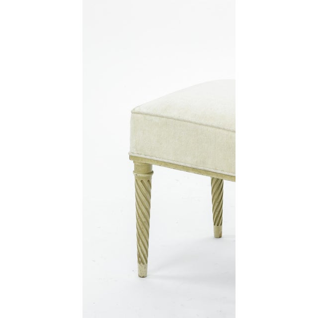 1950s Maison Carlhian Pair of Stools Newly Covered in Linen Cloth For Sale - Image 5 of 6