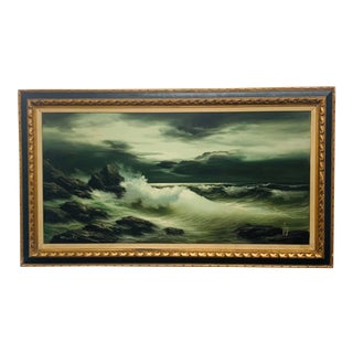 Original Mid-Century Seascape Oil Painting, Framed For Sale