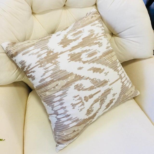 Modern Brunschwig & Fils Neutral Beige & Gray Ikat Pattern Pillow For Sale - Image 3 of 3