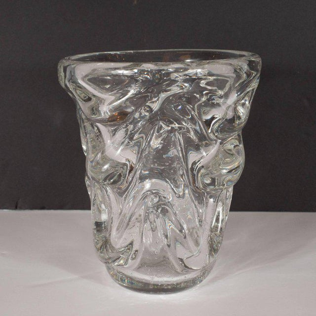 Transparent Mid-Century Modern Sculptural Handblown Glass Vase by Charles Schneider For Sale - Image 8 of 9