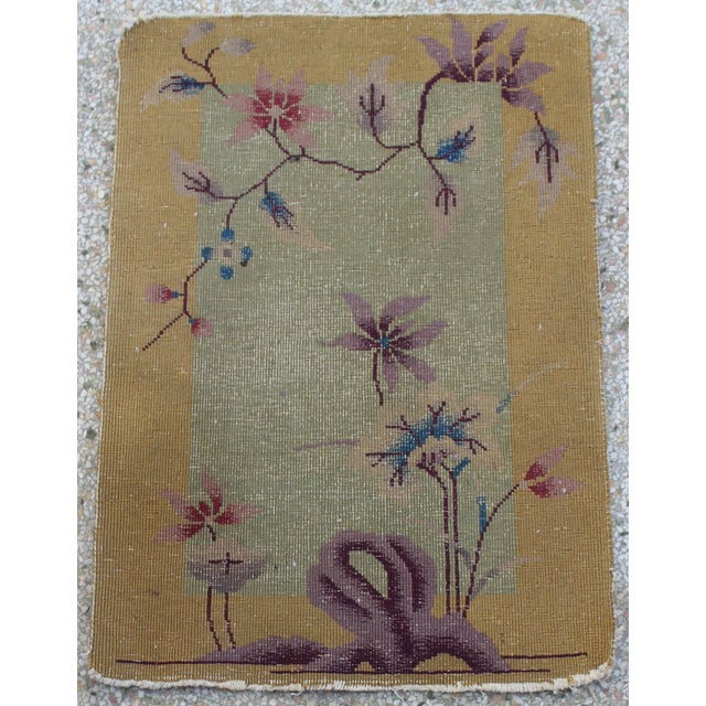Antique 1924 Nichols Wool Rug Tientsin North China Flowers Motif from a Palm Beach estate. Missing the cotton fringe and...