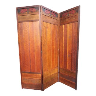 Early 20th Century Arts & Crafts 3 Panel Folding Screen With Carved Poppy Design For Sale