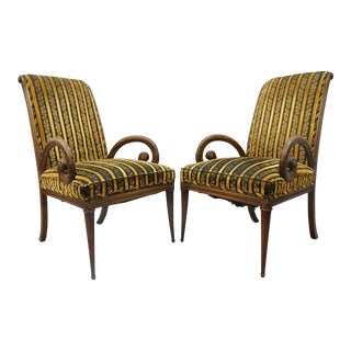 1950s Hollywood Regency Grosfeld House Carved Mahogany Armchairs - a Pair