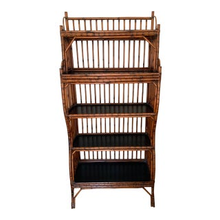 Asian Tall Bamboo Curved Bookcase For Sale