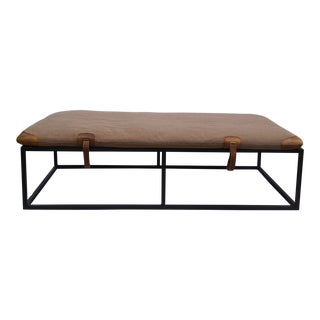 Coffee Table With Padded Equestrian Top and Metal Base