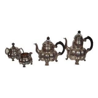 German Arts and Crafts Period Silver Tea and Coffee Service- 4 Pieces For Sale