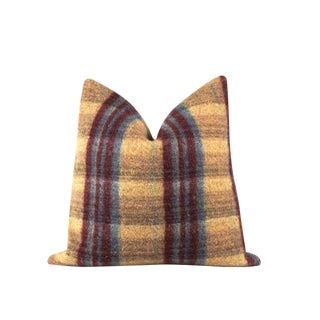 "Mustard Yellow Stripe Wool Throw Pillow 22"" X 22"""