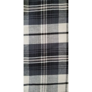 Black and Off White Vintage Wide Plaid Linen - 7.5 Yards For Sale