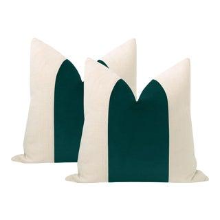 """22"""" Peacock Velvet Panel + Linen Pillows - a Pair For Sale"""