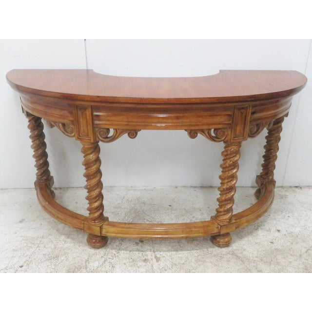 Italian Italian Style Faux Painted Demilune Desk For Sale - Image 3 of 10