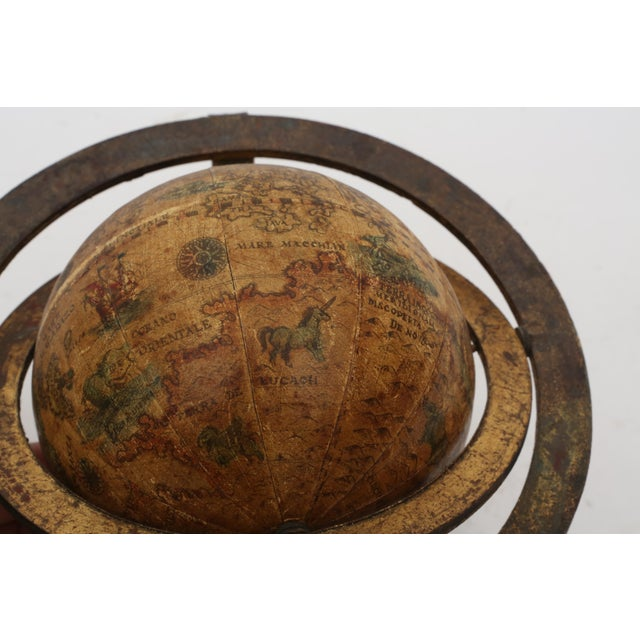 Contemporary Italian Mini Old World Globe with Brass stand For Sale - Image 3 of 10
