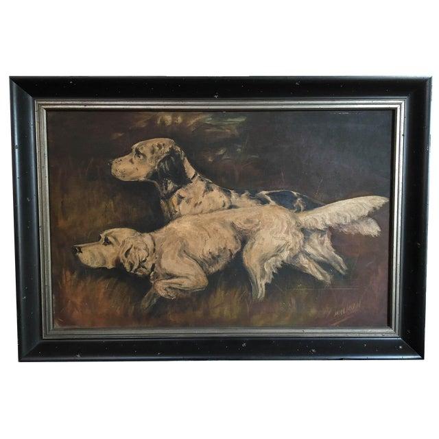 Mid-Century Hunting Dog Painting - Image 1 of 6