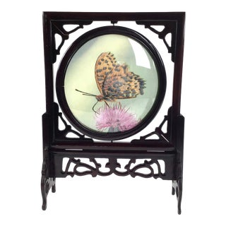 Artisan Vintage Rosewood Butterfly Double Display For Sale
