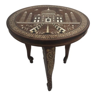 19th Century Moroccan Bone Inlay Side Table For Sale