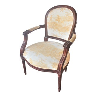 Louis the XVI Arm Chair in Yellow French Chinoiserie For Sale