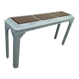 Vintage Fretwork Chinese Chippendale Lacquered Blue Console For Sale