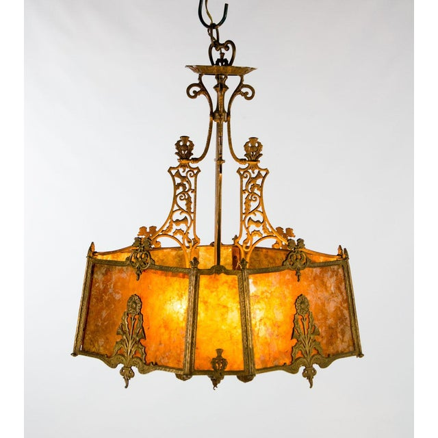 Create a warm glow in your dining or living space with this absolutely breath taking Victorian style mica shade 4 light...