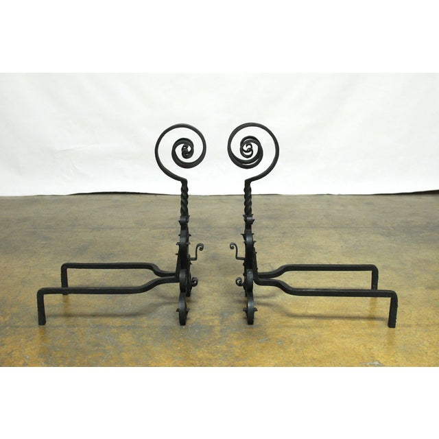 Art Nouveau Arts & Crafts Ram's Head Andirons - Pair For Sale - Image 3 of 6