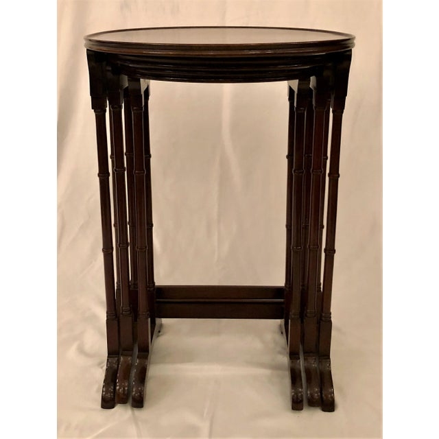 Antique English Mahogany Nest of Tables With Delicate Inlay. For Sale In New Orleans - Image 6 of 8