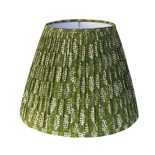 Olive Green Block Print Gathered Lamp Shade For Sale