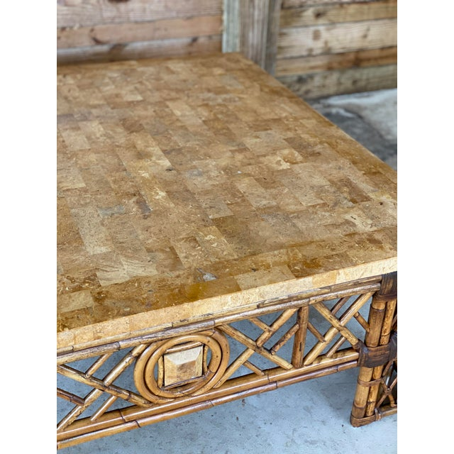 Chinese Chippendale Fretwork Rattan Coffee Table For Sale - Image 10 of 13