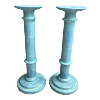 1980s Post Modern Glazed Ceramic Pillar Candle Sticks by Sarreid - a Pair For Sale