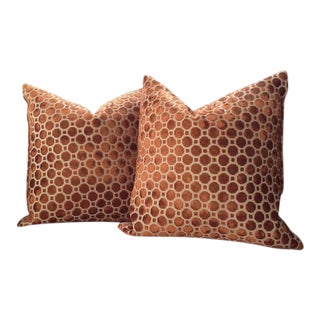 Robert Allen Pillow Covers in Copper Geo Velvet - a Pair For Sale