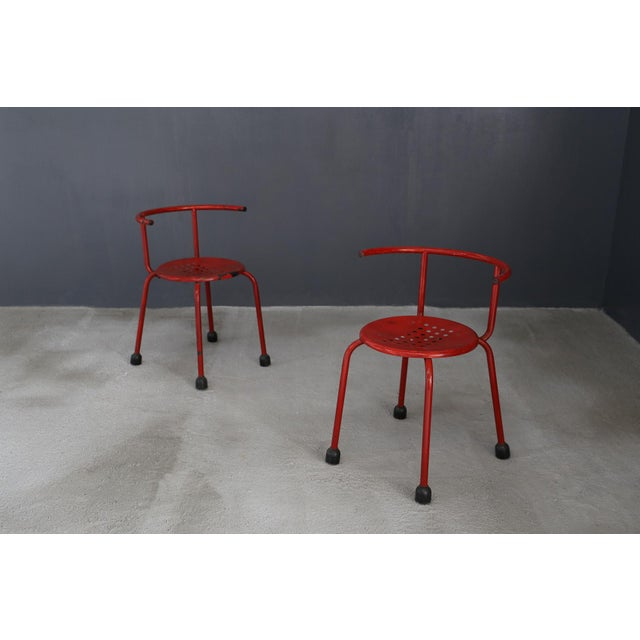 1970s Ettore Sottsass Outdoor Chairs Steel Armchair For Sale - Image 5 of 5