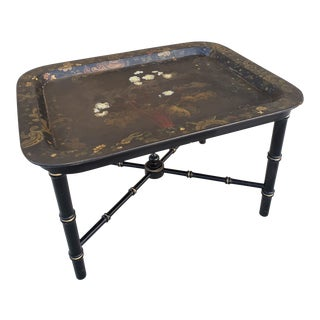 Antique Victorian Papier Mache Tray Table For Sale