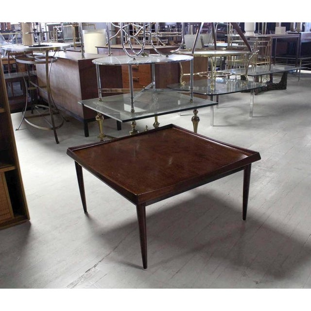 Wood Danish Modern Teak Square Rolled Edge Coffee Table For Sale - Image 7 of 9