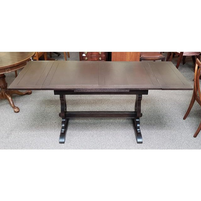 Arts & Crafts English Oak Trestle Base Draw Leaf Dining Table C.1940 For Sale - Image 3 of 7
