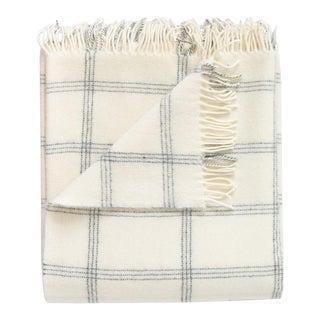 Alpaca & Merino Lambswool Throw in Windowpane Pearl For Sale