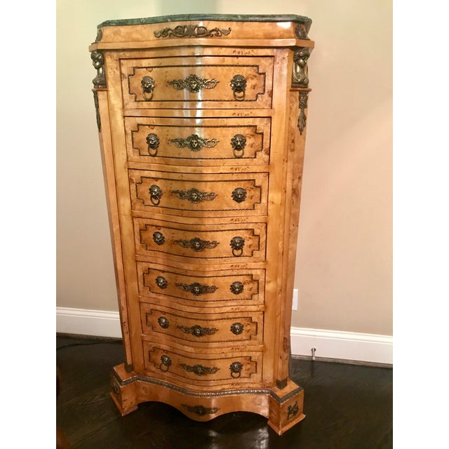 Louis XVI Burlwood & Green Marble Top Chest of Drawers For Sale In Nashville - Image 6 of 6