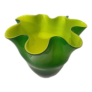Late 20th Century Green Chartreuse Sculpted Italian Art Glass Vase Vessel For Sale