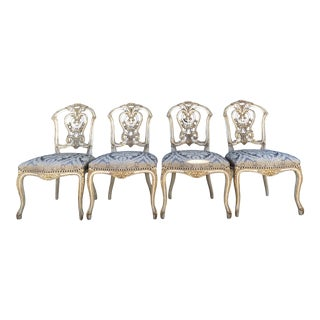 Hand-Carved Dauphine II Side Chairs - Set of 4 For Sale