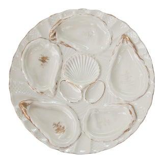 Antique Gilt Porcelain Oyster Plate For Sale