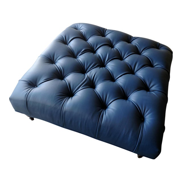 Gambrell Renard Tufted Blue Leather Ottoman - Image 7 of 7