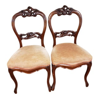 19th C Victorian Carved Rosewood Balloon Back Chairs - a Pair For Sale