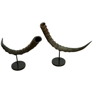 Pair of Midcentury Natural Horn Vases