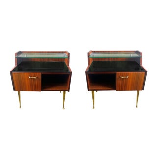 Pair of Italian Bedside Cabinets in Rosewood For Sale