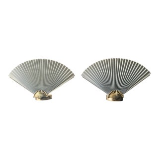 Art Deco Clam Shell Fan Lamps - A Pair For Sale