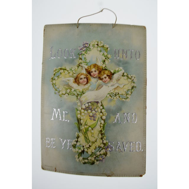 Victorian Wall Art Look Unto Me and Be Ye Saved Isaiah 45:22 Print on Board Made in Germany - Image 3 of 11