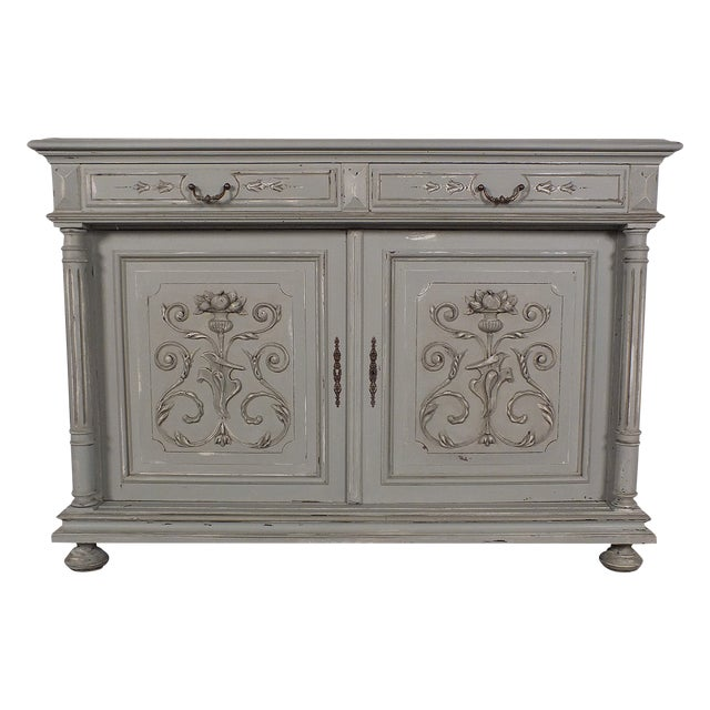 19th C. French Vintage Gray Credenza - Image 1 of 11